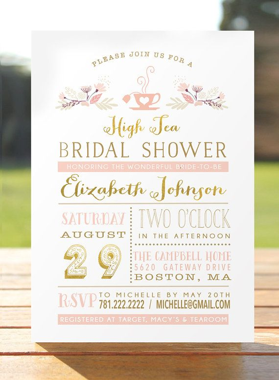 bridal tea party invitation bridal shower invite bridal brunch printable kitchen tea high tea blush gold foil digital file diy high teas