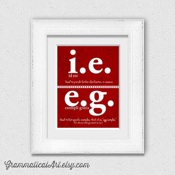 English Poster Grammar Print i.e. vs. e.g. Editor Writer Geekery Proper Correct Grammatical Usage Typographic Print English Gifts