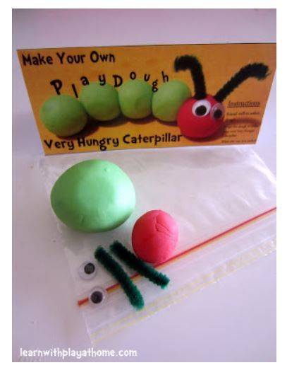 The very hungry caterpillar playdoh party favor idea