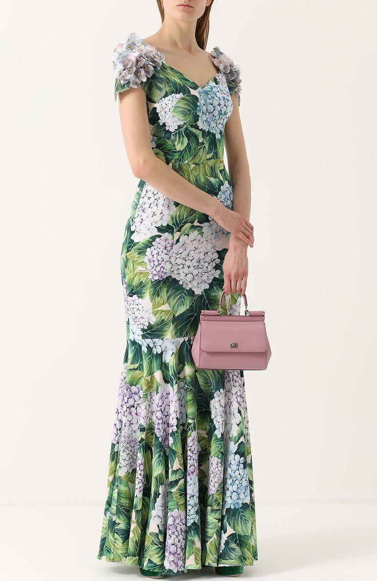 Женское зеленое платье-макси с цветочным принтом и фактурной отделкой Dolce & Gabbana, сезон FW 17/18, арт. 0102/F65A6Z/GDF75 купить в ЦУМ | Фото №2