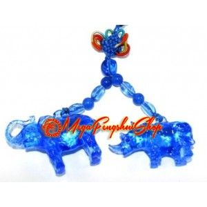 Value Pack - 4 Pieces Blue Liuli Elephant and Rhino Protection Amulet