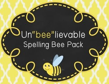 "Un""bee""lievable Spelling Bee Pack: Spelling Bee Certificat"