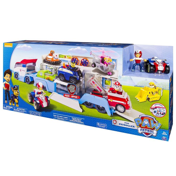 All paws on deck! The Paw Patroller is the ultimate rescue vehicle and is perfect for making sure that the Paw Patrol team can get to new exotic adventure locations. Kids can drive their Paw Patrol vehicles in and head out together for a brand new adventure. The Paw Patroller comes with Ryder and his ATV vehicle and can hold 3 Paw Patrol vehicles inside and can display 6 vehicles when open. Your patrolling will be just like the show when you hear the Paw Patrollers authentic Paw Patrol…