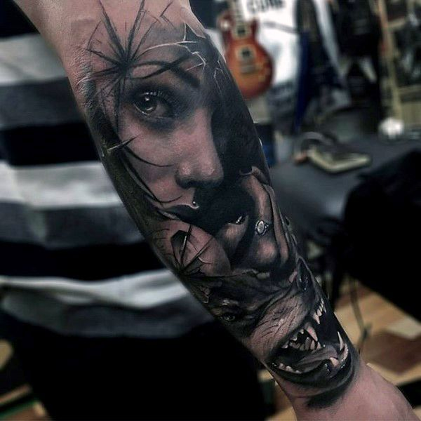 Wolf Badass Mens Forearm Tattoo Sleeve