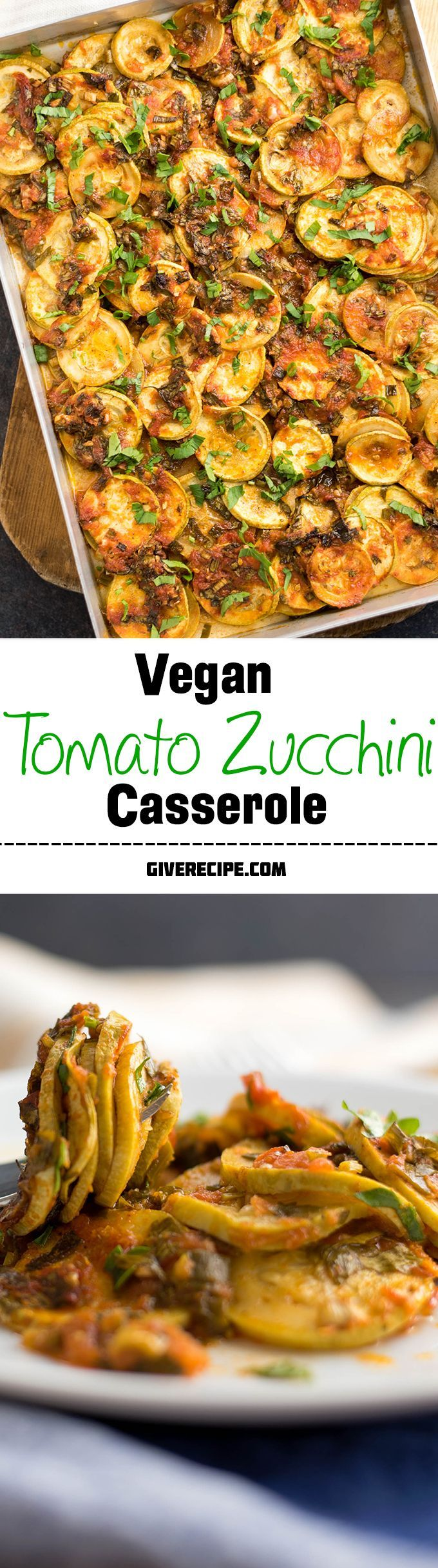 You will never see leftovers when you make this zucchini casserole. This is the BEST vegan casserole ever thanks to tangy and garlicky tomato sauce in it. | giverecipe.com