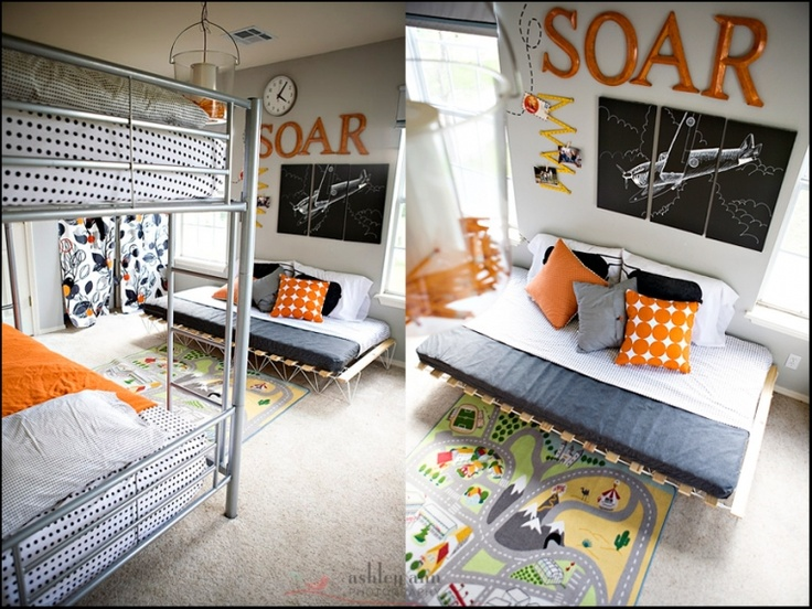 Cute boys room idea - love the grey and orange.