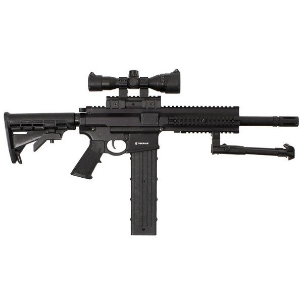 Tiberius Arms T4 First Strike Paintball Gun - Available @... ❤ liked on Polyvore featuring weapons, fillers, armas, guns and other