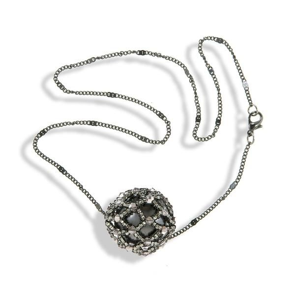 Short Dark Gray Chain Necklace With Gray Shimmering Crystals
