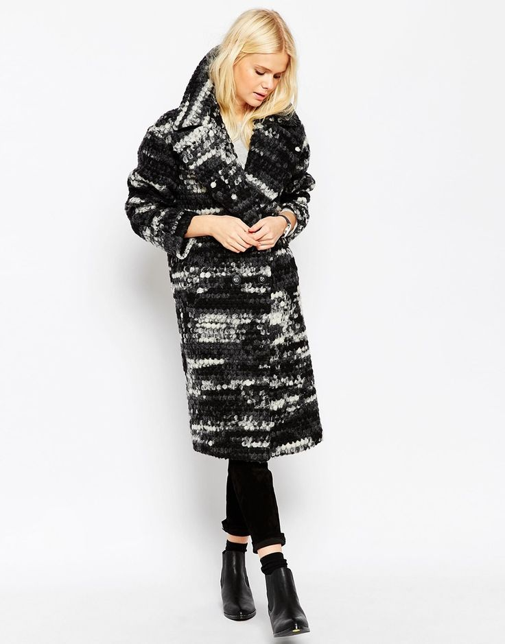 Image 1 of ASOS Coat in Oversized Fit in Mono Bobble Texture