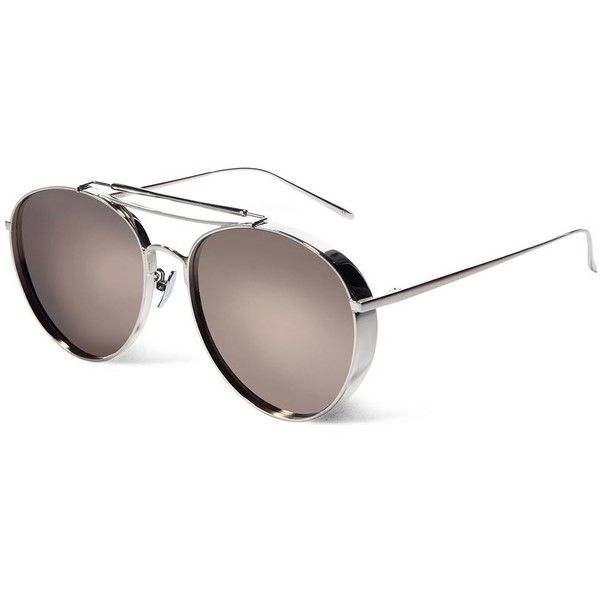 Gentle Monster Big Bully mirrored aviator-style sunglasses ($240) ❤ liked on Polyvore featuring accessories, eyewear, sunglasses, aviator sunglasses, uv protection sunglasses, aviator style sunglasses, mirrored glasses and uv protection glasses