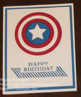Captain America Gorgeous Grunge Guy Greetings Stampin' Up!  Washi Label Punch