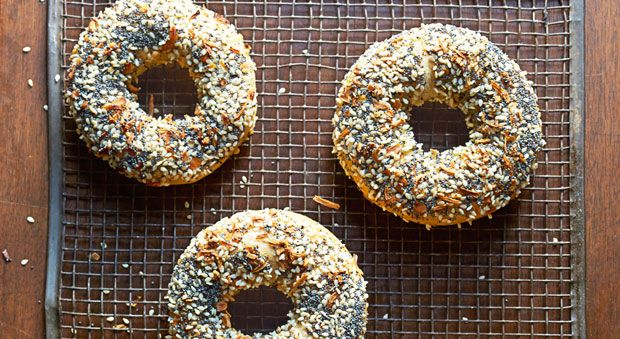 Slightly smaller and sweeter than the famed New York version, these easy to make bagels are boiled in honey water before baking to get their signature flavor. Use our recipe to learn how to make the dough, prep with boiling honey water, dip in toppings, and then bake—they'll be ready in no time!