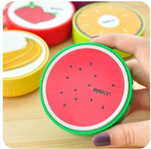 New Cute Fruit Print Contact Lens Mate Box With Mirror (Watermelon) | ProHealthCure