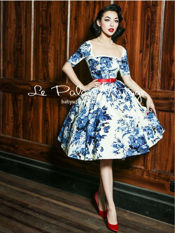 Le Palais de La Vendimia elegante clásico retro porcelana azul y blanca de algodón de la cintura/vestido de bola en Vestidos de Ropa y Accesorios de las mujeres en AliExpress.com | Alibaba Group