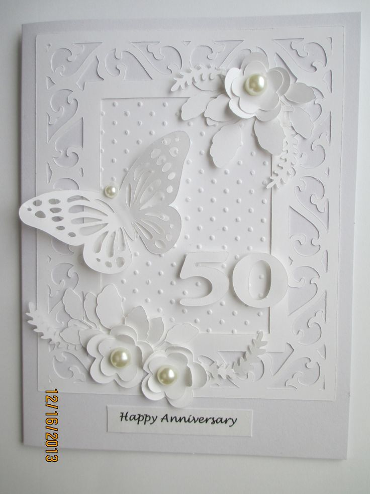 White on white 50th anniversary card