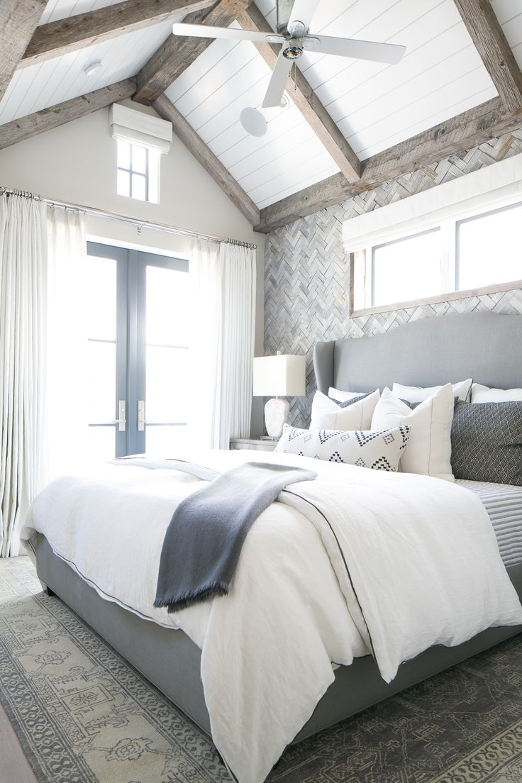 The Gray White And Navy Tones In This Master Bedroom Are Breathtaking We Especially Like The