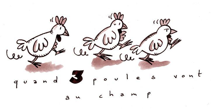"""""""Quand trois poules vont au champs, la première va devant, la deuxième suit la première, la troisième va derrière etc"""" est une chanson très simple mais on peut commencer à travailler avec les prépositions des positions: devant, derrière et après ajouter sous, sur, dans... (Obs.: sur le blog de Zaubette il y a plusieurs d'autres comptines pour les enfants.)"""