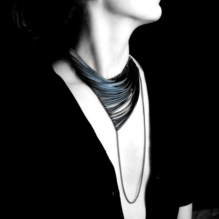 Asymmetrical Necklace made with strips of rubber; contemporary jewellery art // Emma Ware