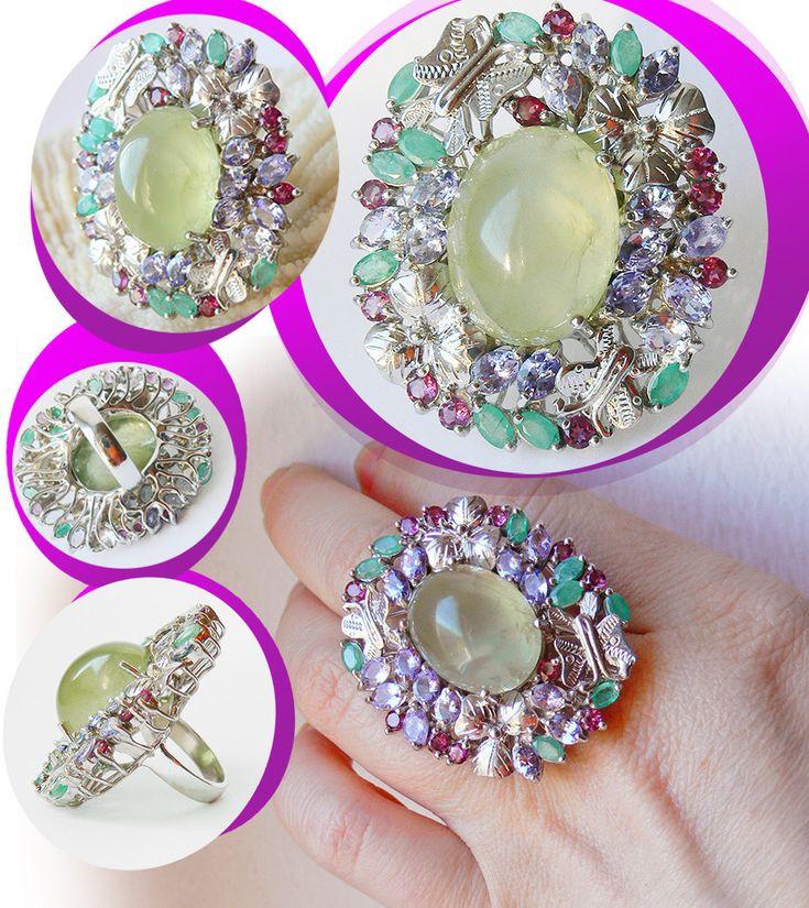 Natural Prehnite, Tanzanite, Emerald, Limited Edition Sterling Statement Ring