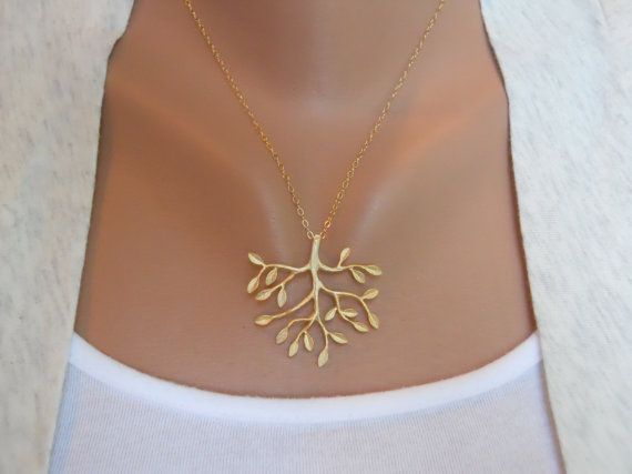 Tree Necklace in Gold - gold tree delicate pendant - gold filled fine chain - morganprather. $23.00, via Etsy.