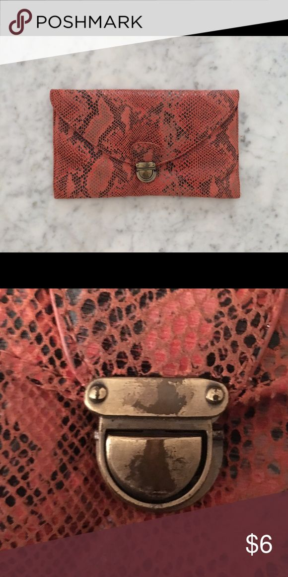 Naf Naf Salmon Snake Clutch Medium sized Naf Naf clutch. Perfect condition except for the buckle that has faint age marks, still very subtle and goes unseen. Naf Naf Bags Clutches & Wristlets