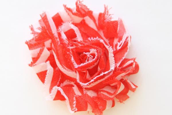 Christmas Shabby Chic Flower Red with White Stripes