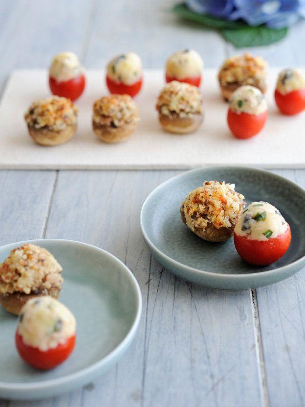 Recipe:プチトマトのファルシとスタッフド・マッシュルーム/片手でつまんで、ポンと口に放り込めるプチサイズがキュート! #レシピ #elleatable