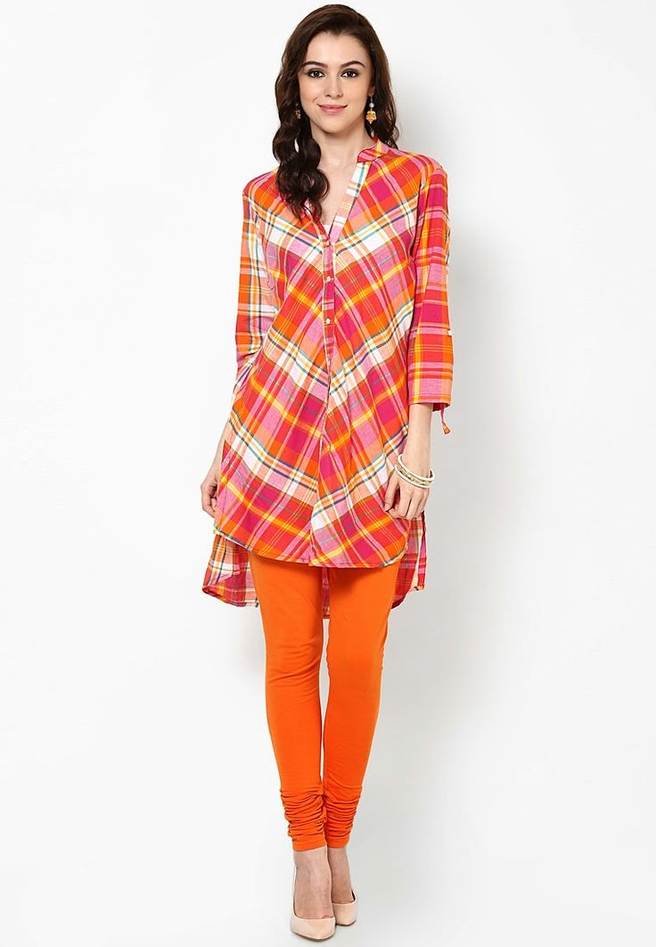 shirt style cotton kurti neck design