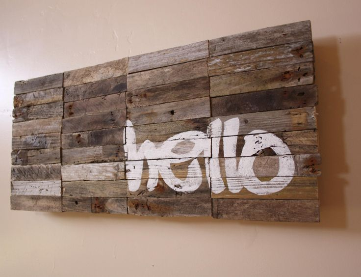 LARGE - Hello Sign - Modern Industrial Greeting Sign - Reclaimed Driftwood Artwork - industrial signage - typography. $135.00, via Etsy.