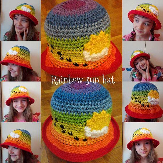 Rainbow sun hat eco friendly kids hat crochet by ButiculColorat