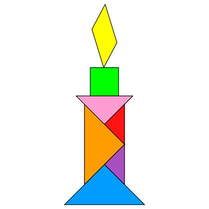 Tangram Candle - Tangram solution #21 - Providing teachers and pupils with tangram puzzle activities