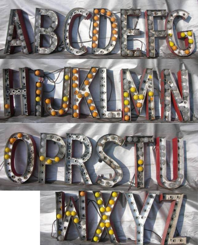my cousin linsey who has become somewhat of an ebay addict lately found these amazing letters today they are marquee letters from old m