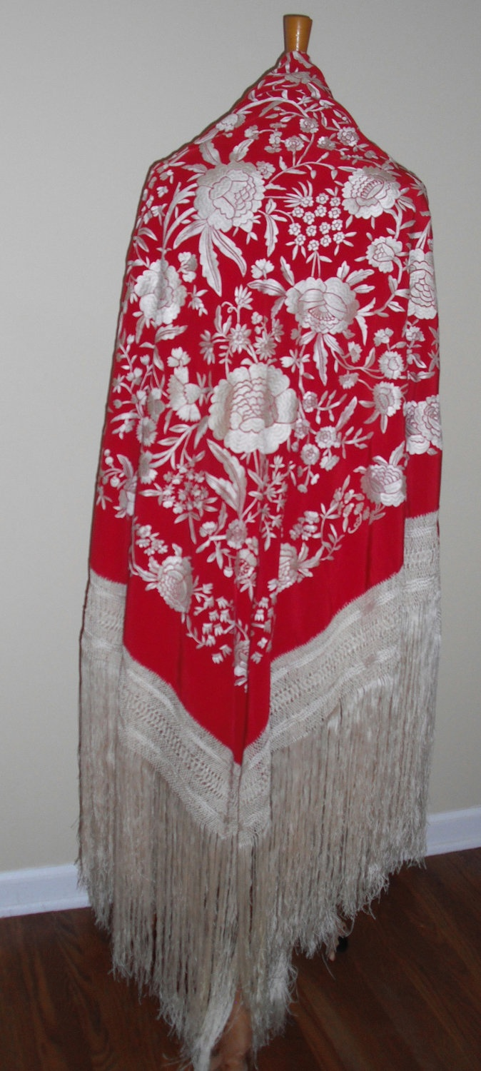Outstanding Vintage-Antique hand embroidered piano shawl -Mantón de Manila -Flamenco Shawl. $225.00, via Etsy.