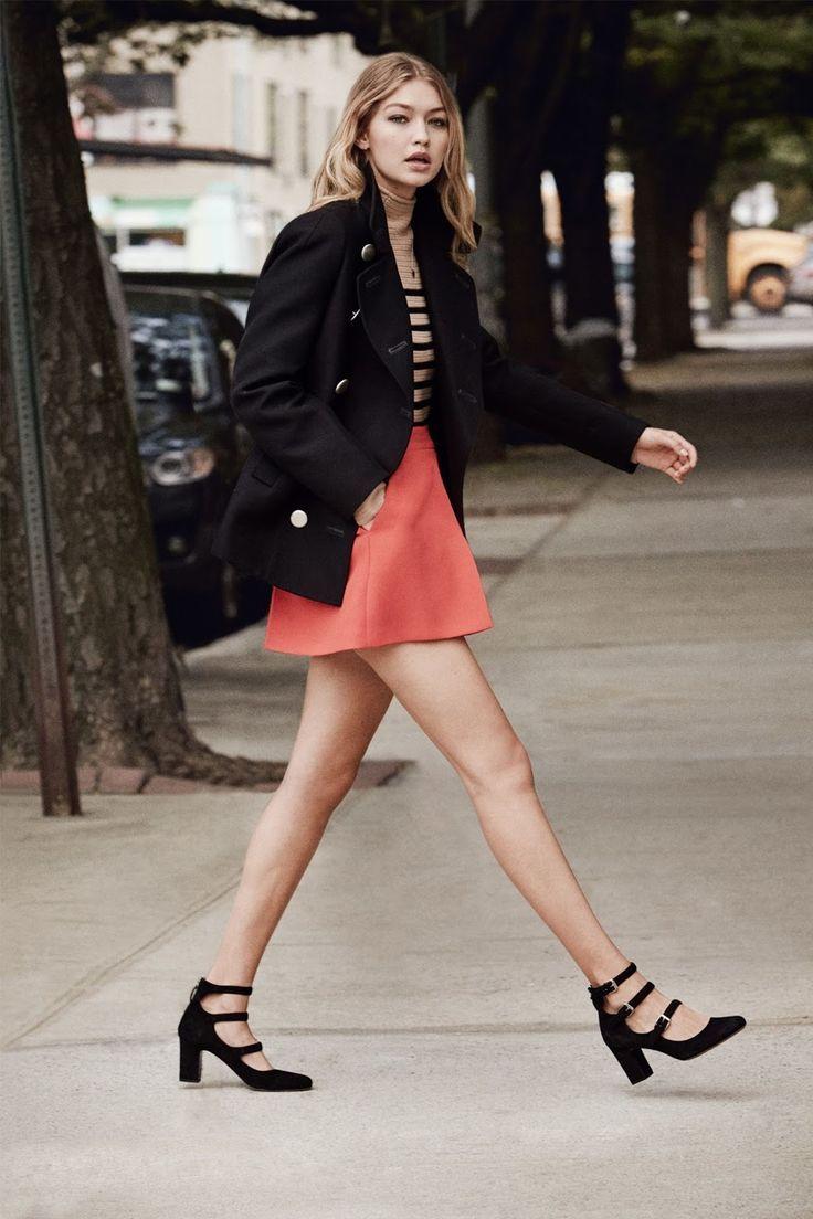 British Vogue, Gigi Hadid. Red skirt, Breton top, pea coat and block heeled Mary-Jane shoes.