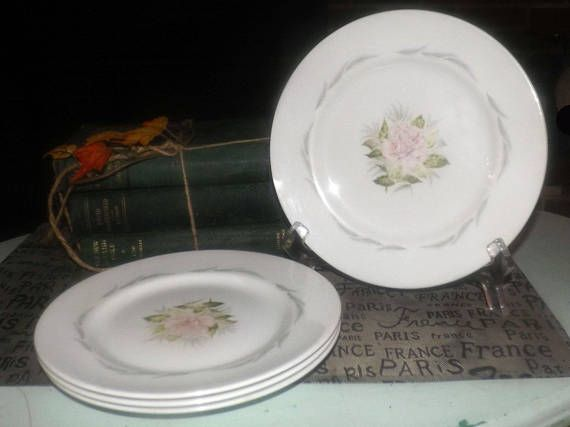 SET of 4 mid-century (1950s) Grindley Baroness pattern salad | side plates. Central pink rose, grey leaves. Satin White ironstone.