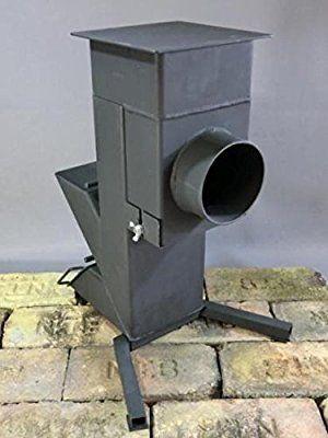 合体 ロケットストーブ 「炉ボ」 150×75mm鋼管(t=3.2) 12kg 高さ480mm   φ106mm煙突ジョイント付き 焚き火台