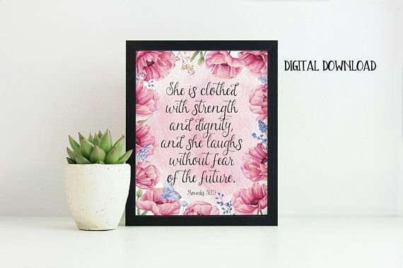 Proverbs 31:25 Bible Verse Wall Art She is Clothed in