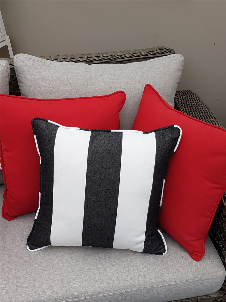 Red, Black, and white pillows