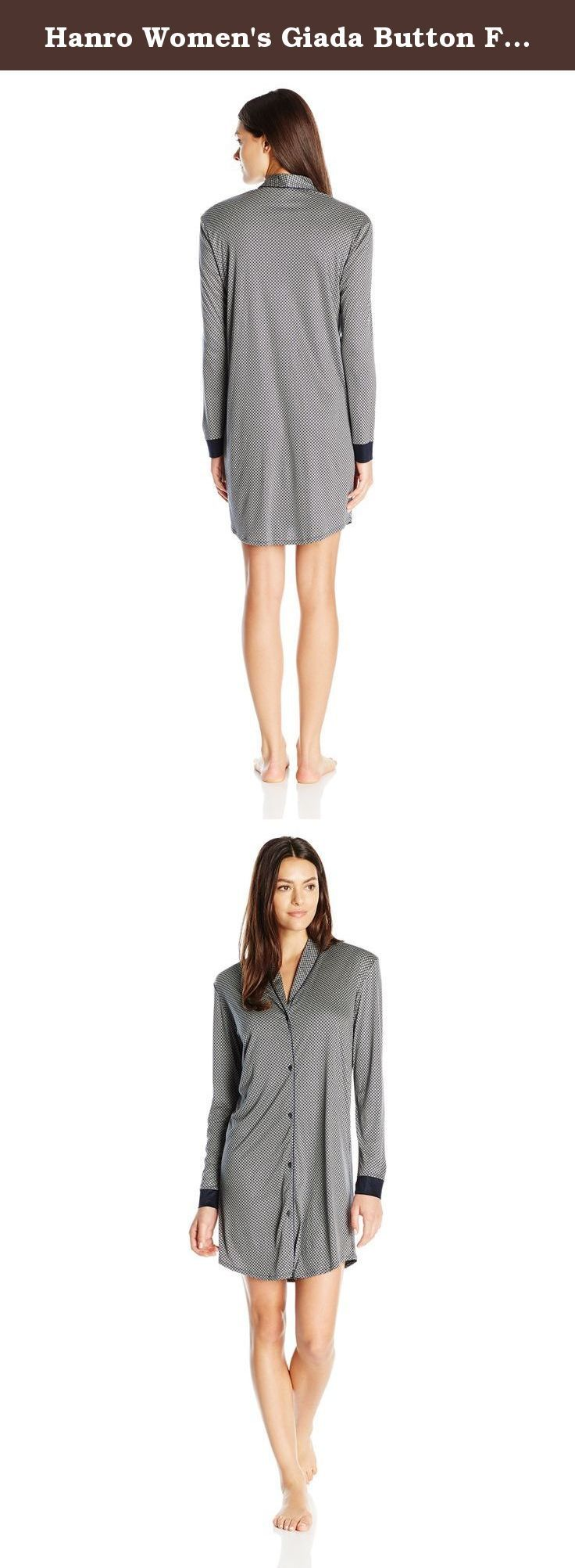 Hanro Women's Giada Button Front Sleepshirt, Blue Minimal Print, Small. Inspired from classic men's nightwear, the giant button front sleep shirt is tailored from soft micro modal jersey and features a modern mini print with navy piping trim details for a fashionably feminine look. With a shawl collar, contrasting cuff details and a rounded hemline, this sleep shirt is perfect for sleeping or lounging.