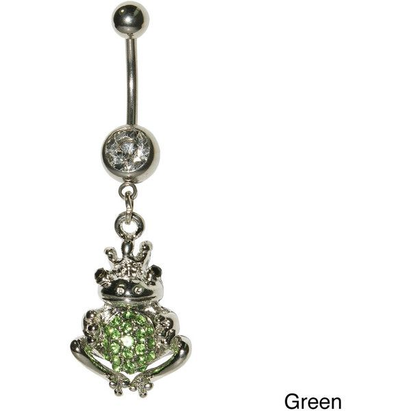 Supreme Jewelry King Frog Green or Clear Stone Belly Ring ($7.47) ❤ liked on Polyvore featuring jewelry, green, body jewellery, clear body jewelry, ball jewelry, clear crystal jewelry and belly rings jewelry
