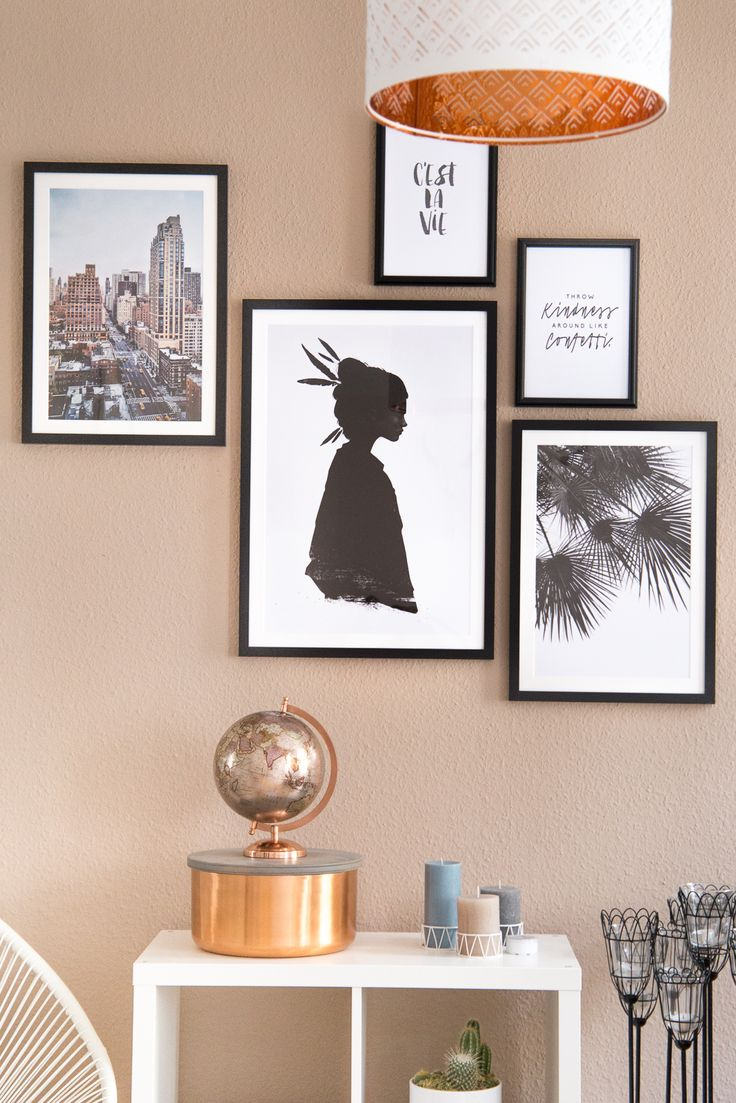 Poster Gallery / Interior / Juniqe Wall / Artworks / Frames / Ideas / Living Room / Ikea Kallax / Decoration / Rosegold