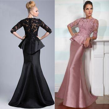 Vestido Mae Da Noiva 2015 Elegant High Neck 3/4 Sleeves Black Pink Mermaid Mother Of The Bride Lace Dresses Formal Gowns M2182