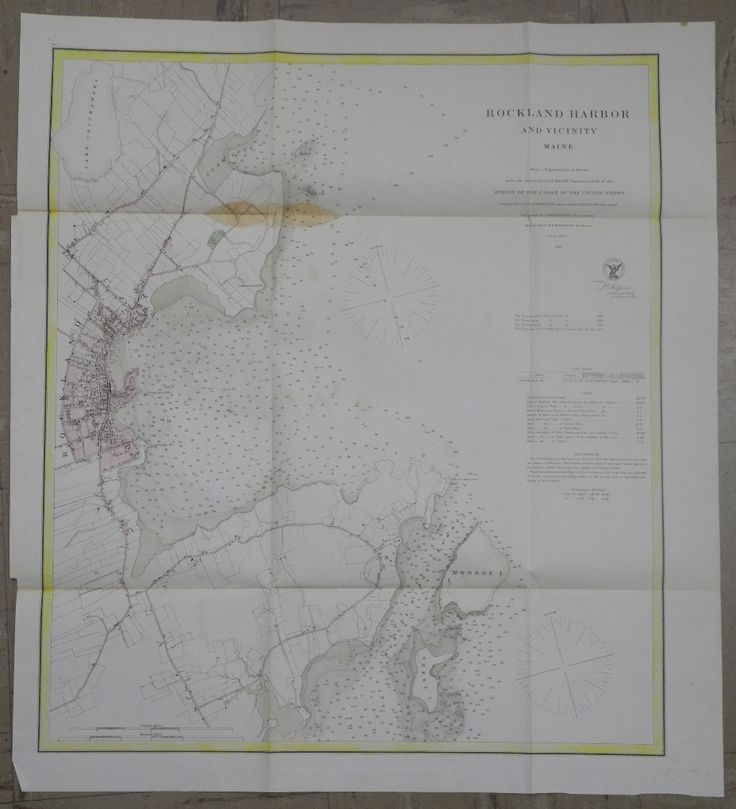Map Antique Rockland Harbor And Vicinity Maine