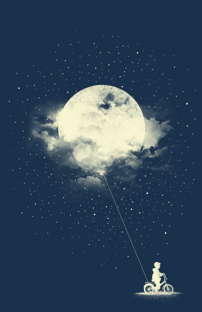 THE BOY WHO STOLE THE MOON Art Print by Los Tomatos | Society6