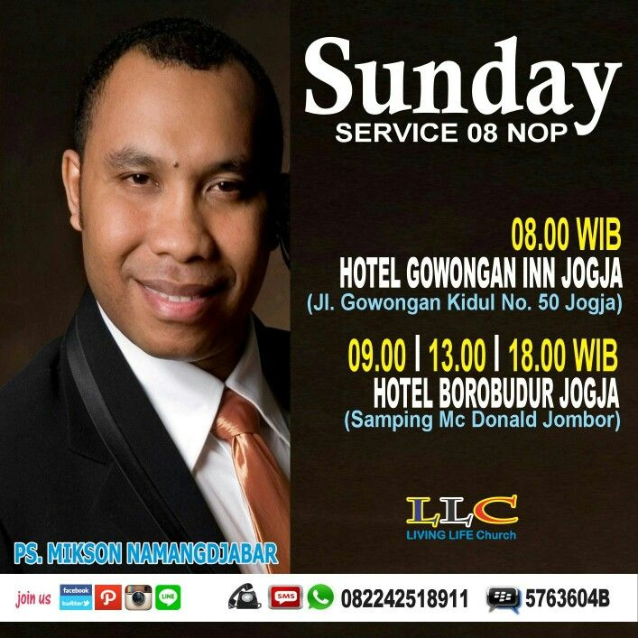 Let join us on Sunday Service 08 Nop 2015 # 08.00 WIB # Hotel Gowongan Inn Jogja # 082242518911