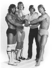 The Von Erich family is a professional wrestling family in Dallas, Texas. The firstborn son, Jack Jr., was electrocuted at the age of six in 1959 in a household accident. In 1984, David Von Erich died in Japan from an unconfirmed cause, although it is widely believed he died from a drug overdose. Mike, Chris, and Kerry committed suicide in 1987, 1991, and 1993 respectively. Photo: Kerry, David, Mike, Kevin.1980s
