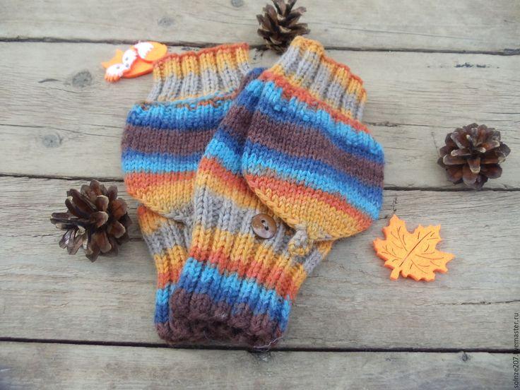 """Купить Варежки - митенки """"Декабрь"""" - комбинированный, в полоску, варежки, варежки ручной работы, варежки женские"""
