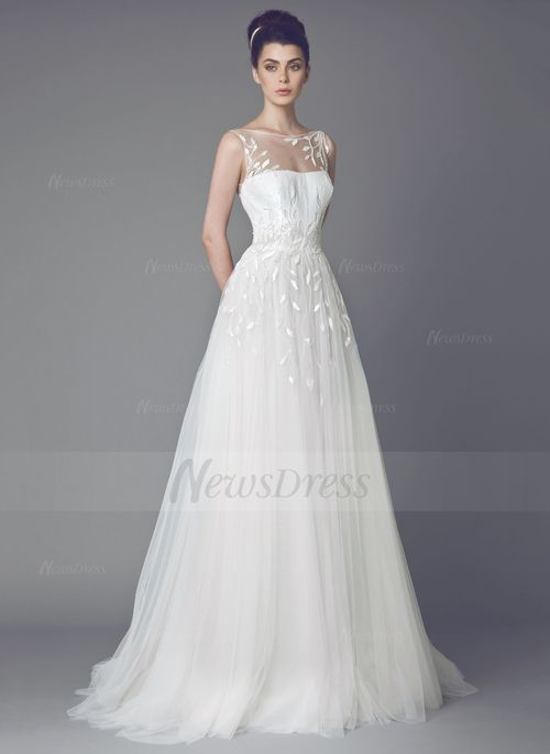 A-Line/Princess Scoop Neck Sweep Train Embroidered Sequins Tulle Zipper Up Regular Straps Sleeveless Church Hall Garden / Outdoor Reception No Spring Summer Fall Ivory White Wedding Dress