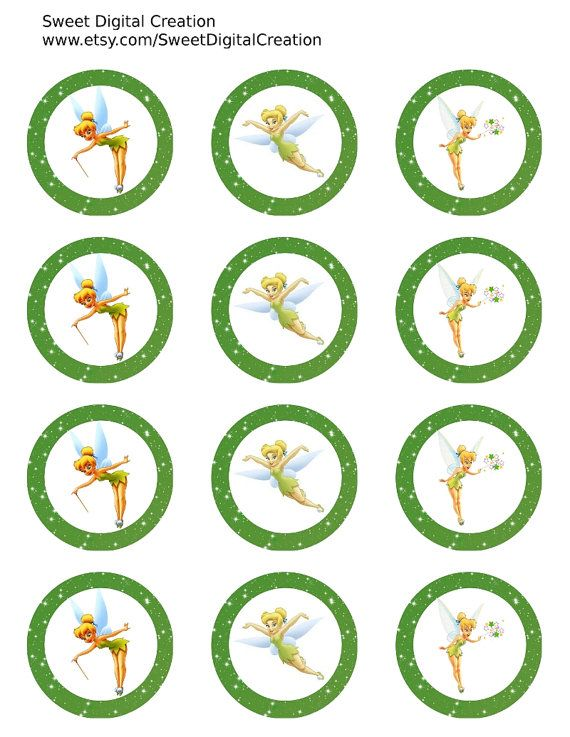 """Tinkerbell Cupcake Toppers, Thinkerbell Birthday Party Circles, Party Tags, Stckers, 2"""" Instant Download"""