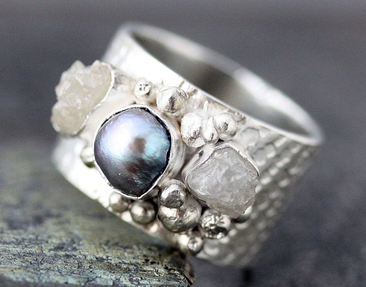 Raw Diamonds and Steel Grey Pearl in Textured Sterling Silver Ring- Custom Made. $365.00, via Etsy.